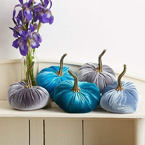 (Velvet Pumpkins, SET of 5: Rich Aqua Blue, Slate Blue, Teal and 2 Gray; Home Decor, Holiday Mantle Decor, Centerpiece, Fall, Halloween, Thanksgiving)