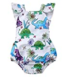 Faithtur Baby Girls Outfit Dinosaur Plant Backless Romper Summer Clothes 0-24 Months (12-18 Months, A)