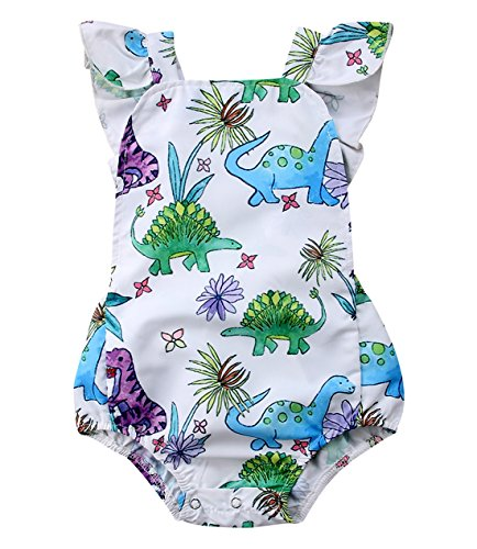 Faithtur Baby Girls Outfit Dinosaur Plant Backless Romper Summer Clothes 0-24 Months (0-6 Months, A) ()