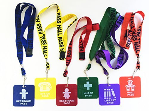 GIFTEXPRESS Hall Pass Lanyards and School Passes Set of 6 (Pass Set)