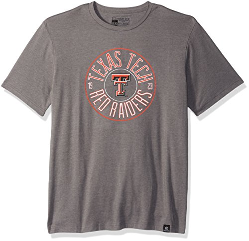 (NCAA Texas Tech Red Raiders Adult NCAA Circles Image One Everyday Short sleeve T-Shirt, Large,HeatherGrey)