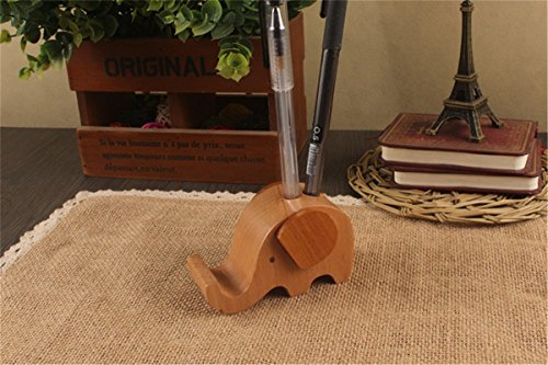 APSOONSELL Wood Elephant Phone Holder & Cute Desktop Card, Note Pad, Pencil Organizer by APSOONSELL (Image #4)