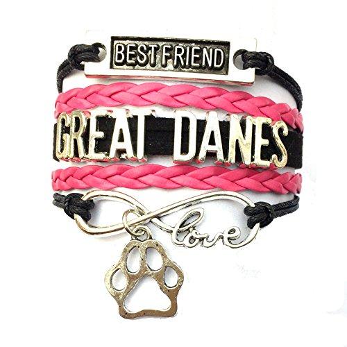(DOLON Braided Great Danes Bracelet Best Friend Dog Paw Charm-Black with Fuchsia)