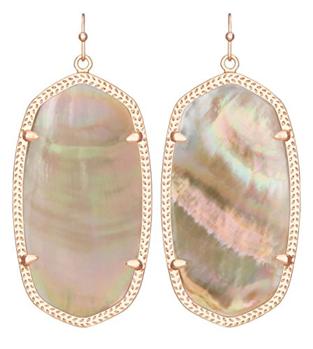 - Kendra Scott Women's Danielle Earrings Rose Gold/Brown Mother Of Pearl Earring