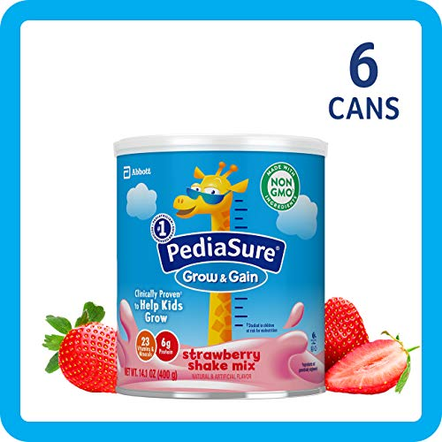 Real Strawberry Gains - PediaSure Grow & Gain Non-GMO Shake Mix Powder, Nutritional Shake For Kids, With Protein, DHA, Antioxidants, and Vitamins & Minerals, Strawberry, 14.1 oz, 6-Count