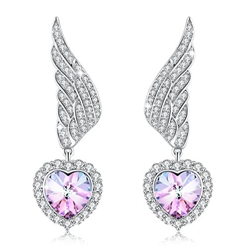 Wings Heart Drops (PLATO H Angel Wing Heart Drop Dangel Earrings Angel Wing Earring With Swarovski Crystal)
