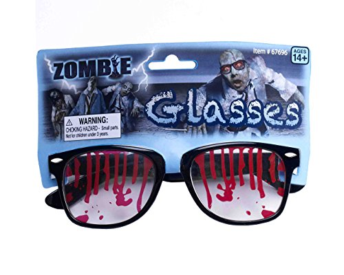 Forum Novelties Men's Bloody Zombie Glasses, Black/Red, One (Zombie Gangster Halloween Costumes)