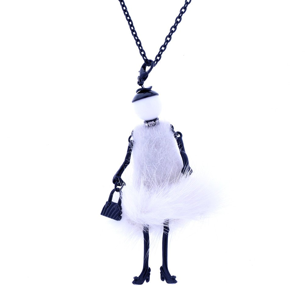 Lureme Handmade French Doll Necklace with Feather Dress Dancing Girl Pendant (nl005755) Yida nl005755-1