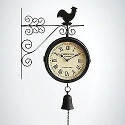 LIAN Wall Clock Retro Two-Sided Clock Fashion Living Room Wrought Iron Decorative Wall Clock Quartz Clock