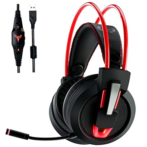 PC Gaming Headset V9, 7.1 Channel USB Wired Over Ear Noise Canceling Stereo Headphones with Mic Revolution Volume Control & LED Light
