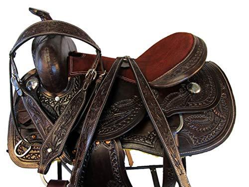 (15 16 17 Tooled Leather Pleasure Silla DE MONTAR Caballo Barrel Western Saddle (16 Inch))