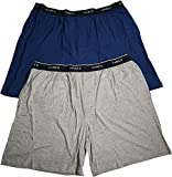 Hanes Mens Jersey Lounge Shorts with Logo Waistband, Blue/Heather Grey, Pack 2 40288-Large