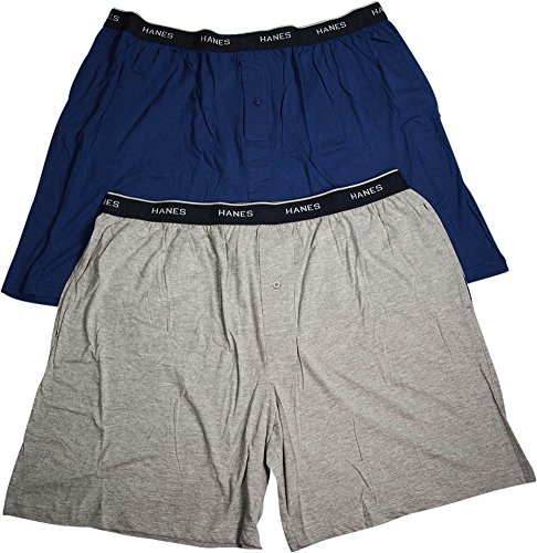 - Hanes Mens Jersey Lounge Shorts with Logo Waistband, Blue/Heather Grey, Pack 2 40288-Medium