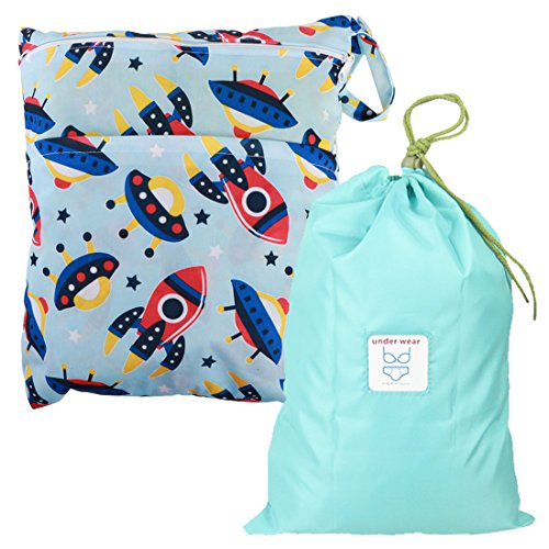 MyKazoe Waterproof Wet Bag with Two Zippered Pockets and Multipurpose Bag with Drawstring Kit - Swimsuits, Diapers, Cosmetics & More (Set of Two) (Space Adventure)