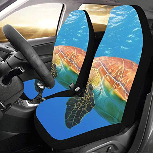 Zanzibar Leather (Flexible Turtle in Blue Ocean Custom New Universal Fit Auto Drive Car Seat Covers Protector for Women Automobile Jeep Truck SUV Vehicle Full Set Accessories for Adult Baby (Set of 2 Front))