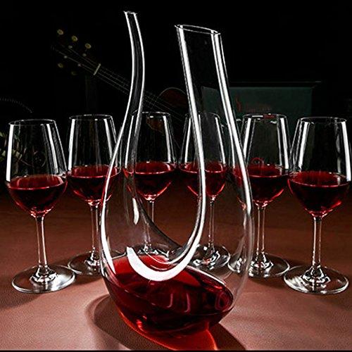 Wine Decanter,WBSEos 1.5L U Shape Classic Wine Carafe,100% Hand Blown Lead-free Crystal Glass-Wine Accessories