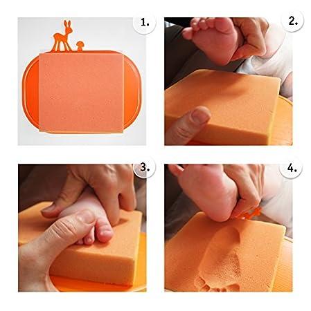 und Fu/ß-Abdruckset Baby Abdruckset in 3D ////// Klapp-Box mit 2x orthop/ädischem Trittschaum 1 Fenster f/ür Foto ////// Hand