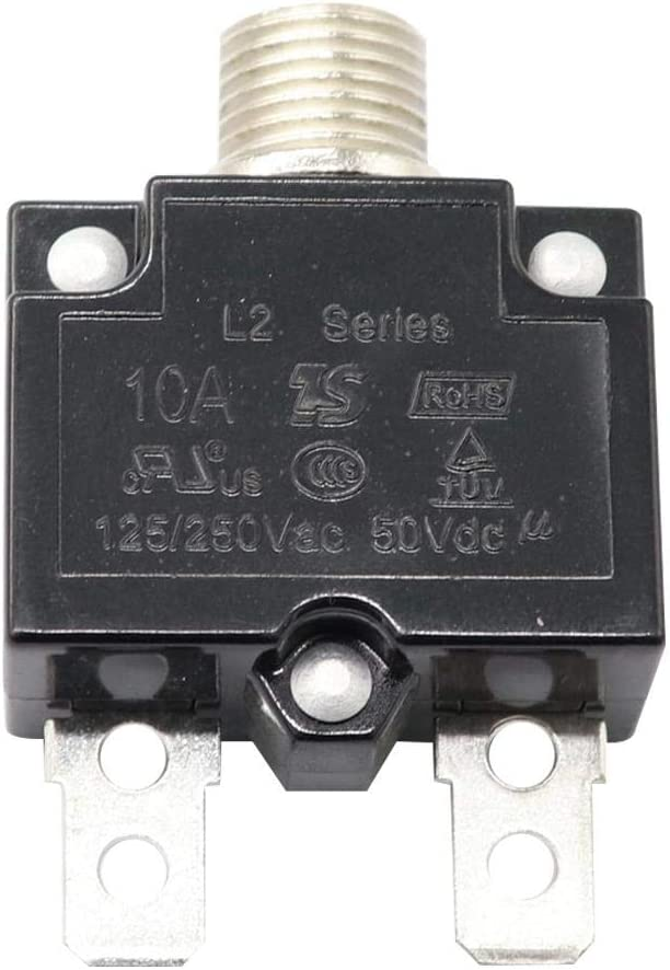 125-250V AC DC Push Button Circuit Breaker 10Amp Thermal Overload Protector L1