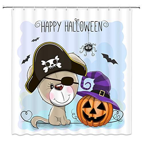 Halloween Shower Curtain Decor, Pumpkin Lantern With Wizard Hat Jack-o-lantern Pirate Dog Spider Bat Blue, 70 x 70 Inches Waterproof Mildew Resistant Polyester Fabric Machine Washable With 12pcs Hooks ()