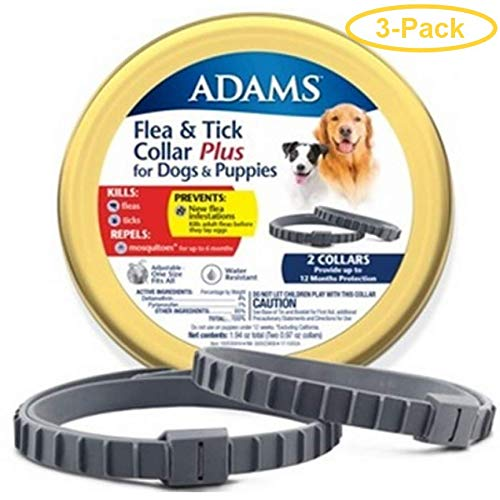 Adams Flea & Tick Collar Plus for Dogs & Puppies 2 Count - Pack of 3