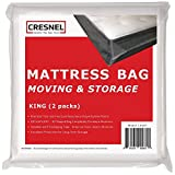 CRESNEL Mattress Bag for Moving & Long-term Storage - KING size - Enhanced mattress protection with Super Thick Tear & Puncture Resistance Polyethylene (Value Pack of 2pcs)