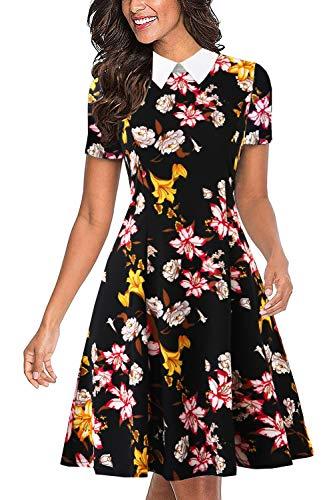 Drimmaks Women's Retro Floral Office Dress Short Sleeve White Peter Pan Collar Swing Dress (017-A_Black Floral 1, XL)