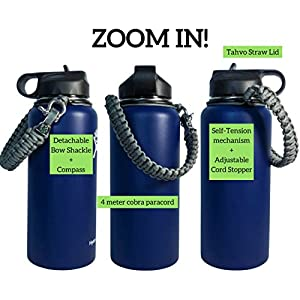 Hydro Flask Carrier for Straw Lid w/ Safety Ring - Handle Fits 64-oz Growler, 32oz, 18oz, 40 ounce Wide-Mouth - Military Grade Paracord w/ Compass - Anti-Slip, Self-tension Design by TAHVO (Grey)