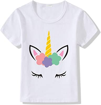 VERROL Camisetas Unicornios para Niñas, Camiseta Casual de Dibujos Animados Manga Corta Cuello Redondo Camiseta Impresión Camisa de Verano Tops: Amazon.es: Ropa y accesorios