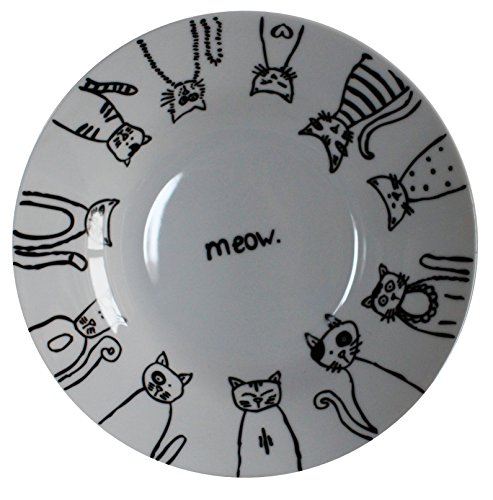 - Leadex 8-inch Rim Soup Bowl Set/Pasta Bowls,Hand-drawn Cartoon Cat Design, Set of 4