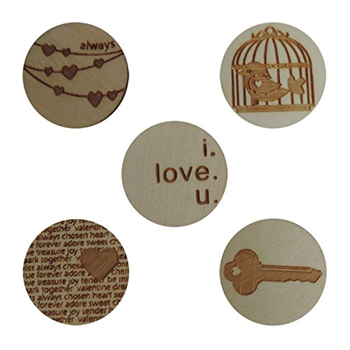 Maya Road WD3019 Wood Love Tokens, 10-Pack