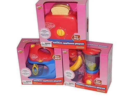 Play Right Mixer Blender Toaster Toy 3 Piece Pretend Play