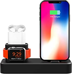 Megadream 3 in 1 Desktop Charge Stand for Apple Watch, Airpods, iPhone Samsung Galaxy Smartphone - Silicone (Not Include Cable/Adapter)