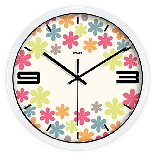 - Ultra Time Empty 12 Inch Wall Clock Mute Fashion Flower Decorative Watch Cute Living Room Quartz Clock (Color : B)