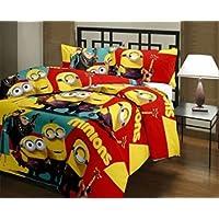 GUNNU G Minions Cartoon Kids Design Print Single Bed Reversible AC Blanket | Dohar | Quilt | Comforter | Duvet (Polycotton, Multicolor)