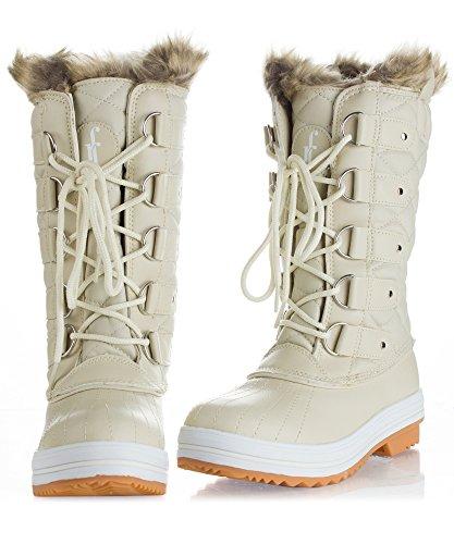 RF ZIMMER DER MODE Frauen Mid Kalb Arctic Warmer Pelz Shearling Lined Steppmuster Wasserabweisend Eskimo Snow Boots Neues Elfenbein