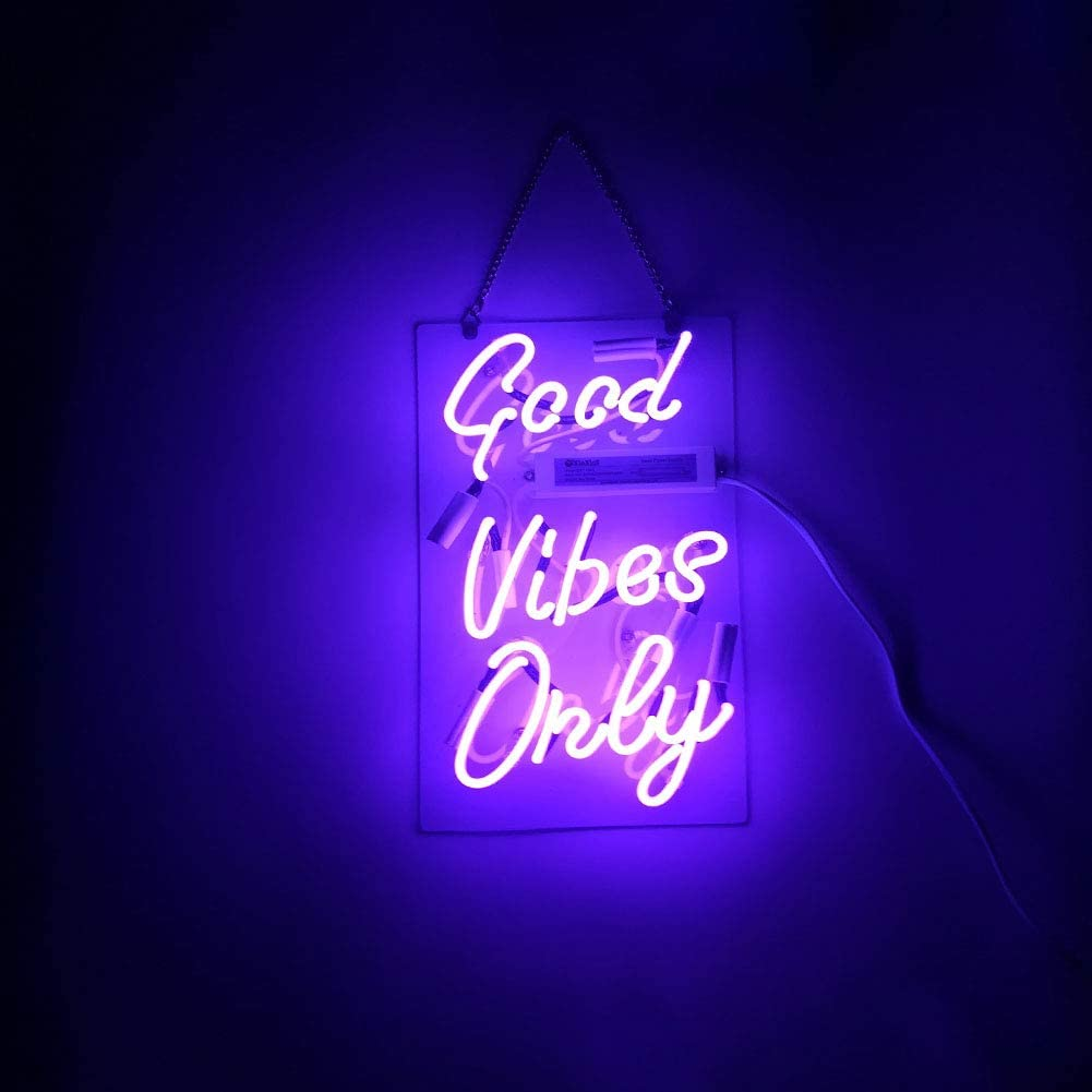 LiQi Good Vibes ONLY Real Glass Handmade Neon Wall Signs for Home Decor Wall Light Room Decor Home Bedroom Girls Pub Hotel Beach Cocktail Recreational Wedding Vibes Signs (14
