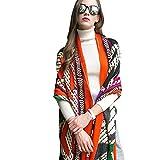 DANA XU 100% Pure Wool Women Scarf Large Size Pashmina (Orange&Green)