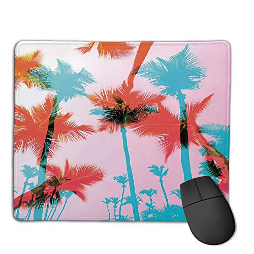 Mouse Pad Custom,Non-Slip Rubber Mousepad,Tropical,Coconut Palm Tree Silhouettes Exotic Island Summer Beach Art,Dark Coral Light Pink Turquoise,for Laptop, Computer, PC, Keyboard,H9.8XW11.8inch