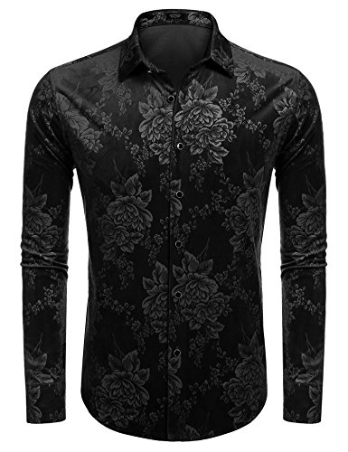 (Coofandy Mens Winter Thermal Fleece Floral Long Sleeve Button Down Flannel Shirt Black Large)