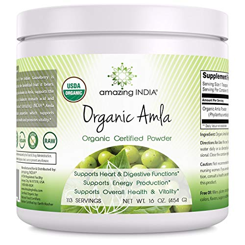 Amazing India Organic Amla Powder - 16 oz-Raw, Vegan- Gluten-Free Rich source of Vitamin C- Supports Immune System- Promotes Skin Health- Glucose Metabolism - Natural Laxative- Detoxifier