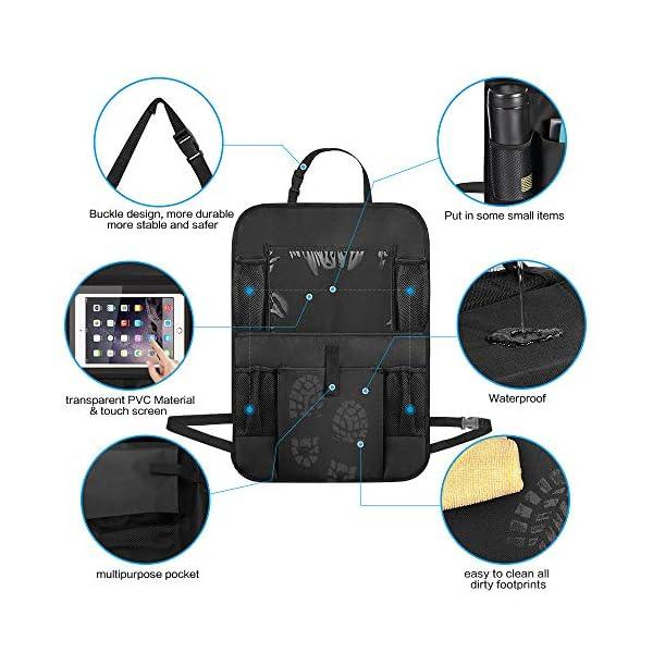 51VKnYeL9LL Auto Rückenlehnenschutz, opamoo 2 Stück Auto Rücksitz Organizer für Kinder, Große Taschen und iPad-/Tablet-Fach…