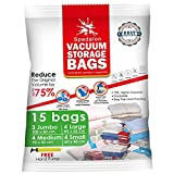 Vacuum Storage Bags - Pack of 15 (3 Jumbo (100x80cm) + 4 Large (80x60) + 4 Medium (70x50) + 4 Small (60x40)) ReUsable space savers with free Hand Pump for travel packing. Best Sealer Bags for Clothes, Duvets, Bedding, Pillows, Blankets, Curtains