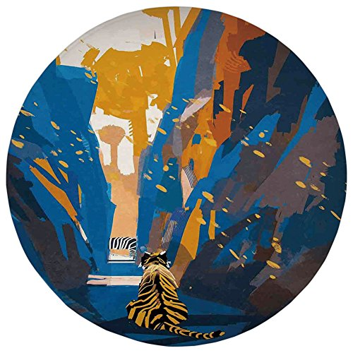 Round Rug Mat Carpet,Fantasy Art House Decor,African Tiger in City Streets Narrow Walls Digital Jungle Savannah,Orange Blue,Flannel Microfiber Non-slip Soft Absorbent,for Kitchen Floor Bathroom ()