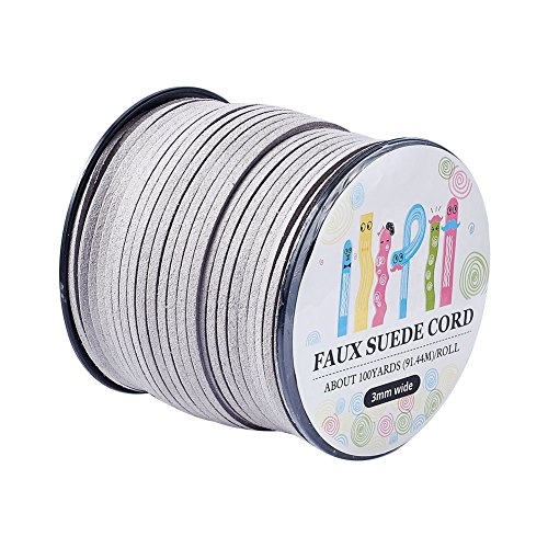 (Pandahall 98Yard 90m/roll 3x1.4mm Faux Suede Cord String Leather Lace Beading Thread Suede Lace Double Sided with Roll Spool 295feet LightGrey)