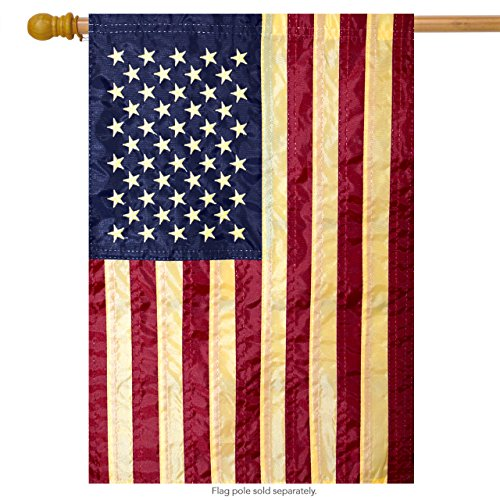 American Flag Tea Stained Applique House Flag 28