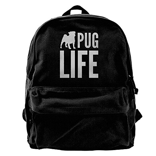 AHOOCUSTOM Pug Life Canvas Shoulder Backpack Men & Women Canvas Backpack School Laptop Bag Hiking Travel Rucksack