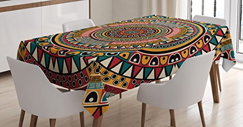 Tribal Decor Tablecloth by Ambesonne, African Folkloric Tribe Round Pattern with Ethnic Colors Aztec Art, Dining Room Kitchen Rectangular Table Cover, 60 W X 90 L Inches, Jade Ruby and Mustard