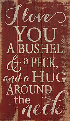 I Love You a Bushel and a Peck Distressed Red 24 x 14 Wood Pallet Design Wall Art - Sign Words Christmas