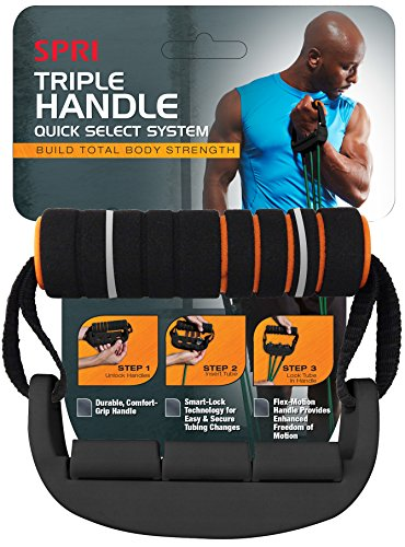 SPRI Xertube Quick Select Triple Handle Resistance Band Exercise Cord Handles (Pair)