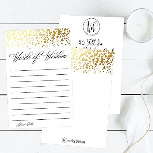 50 Gold Words of Wisdom Advice Cards, Use As Graduation Advice Cards, Marriage or Wedding Advice Cards, Guest Book Alternative, Bridal or Baby Shower Party Games, Boy or Girl Baby Predictions Photo #5